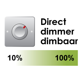 Direct dimmer dimbaar